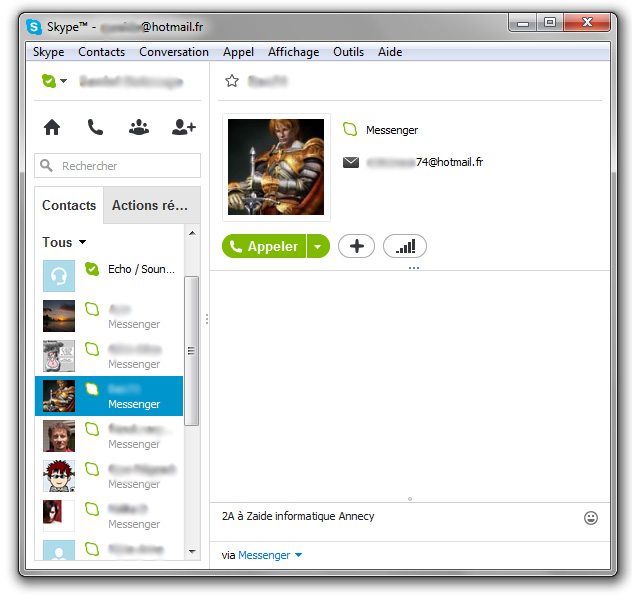 Skype fenêtre de l'interface